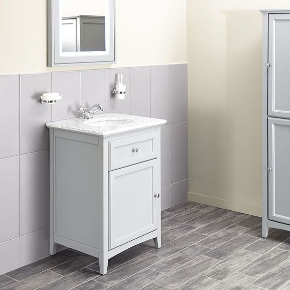 Savoy Gun Metal Grey 600 basin unit with marble top and