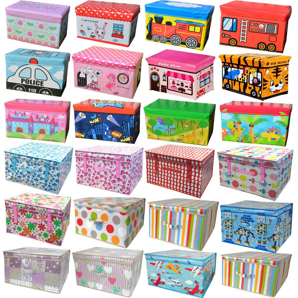 Kids Collapsible Ottoman Toy Books Box Storage Seat Chest: Details About Large Kids Children Toy Storage Box Lid Seat