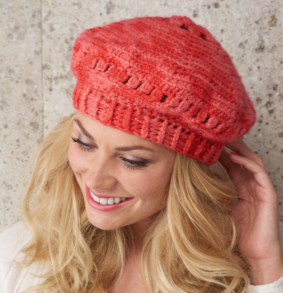 Free crochet beret hat pattern in gorgeous coral KnitPicks yarn! By ...