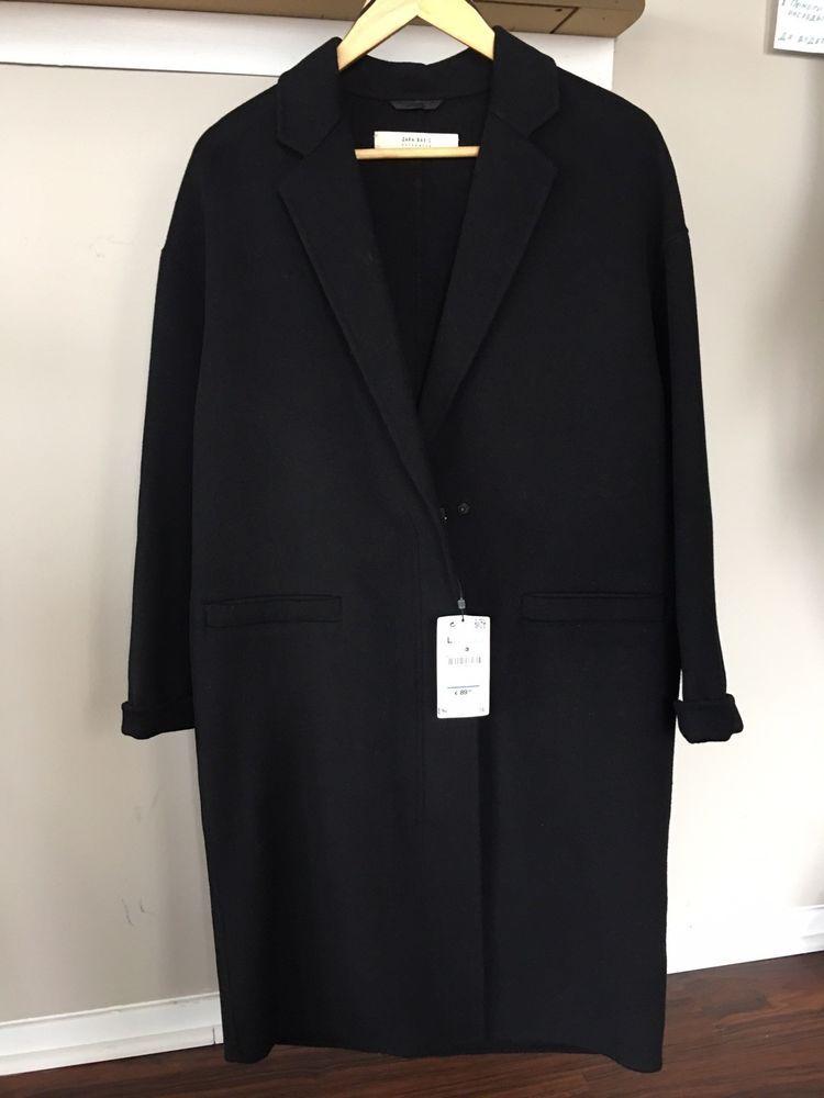 8c1fe105 Women's ZARA BASIC Wool Blend Long Beautiful Elegant Black Coat Jacket  Large. #fashion #clothing #shoes #accessories #womensclothing  #coatsjacketsvests ...