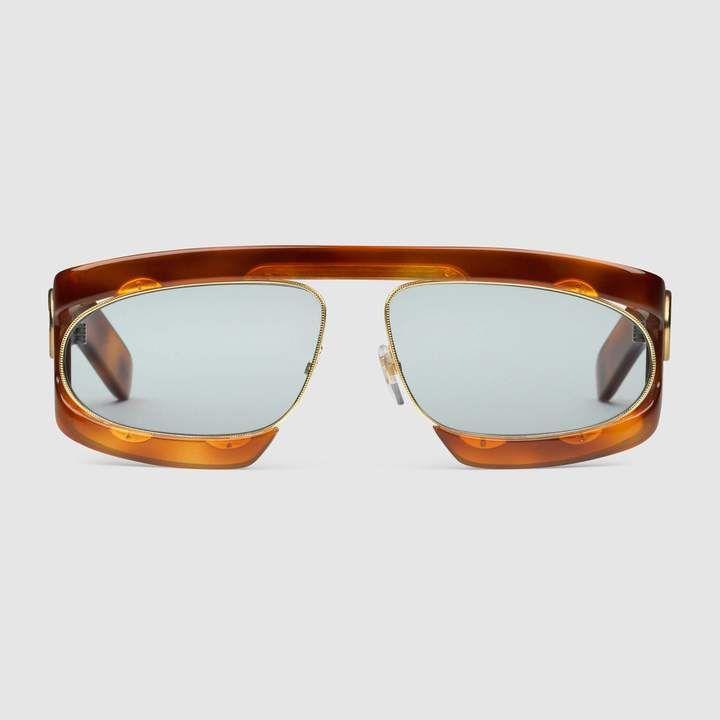 a981ee12a8921 Gucci Rectangular-frame acetate sunglasses