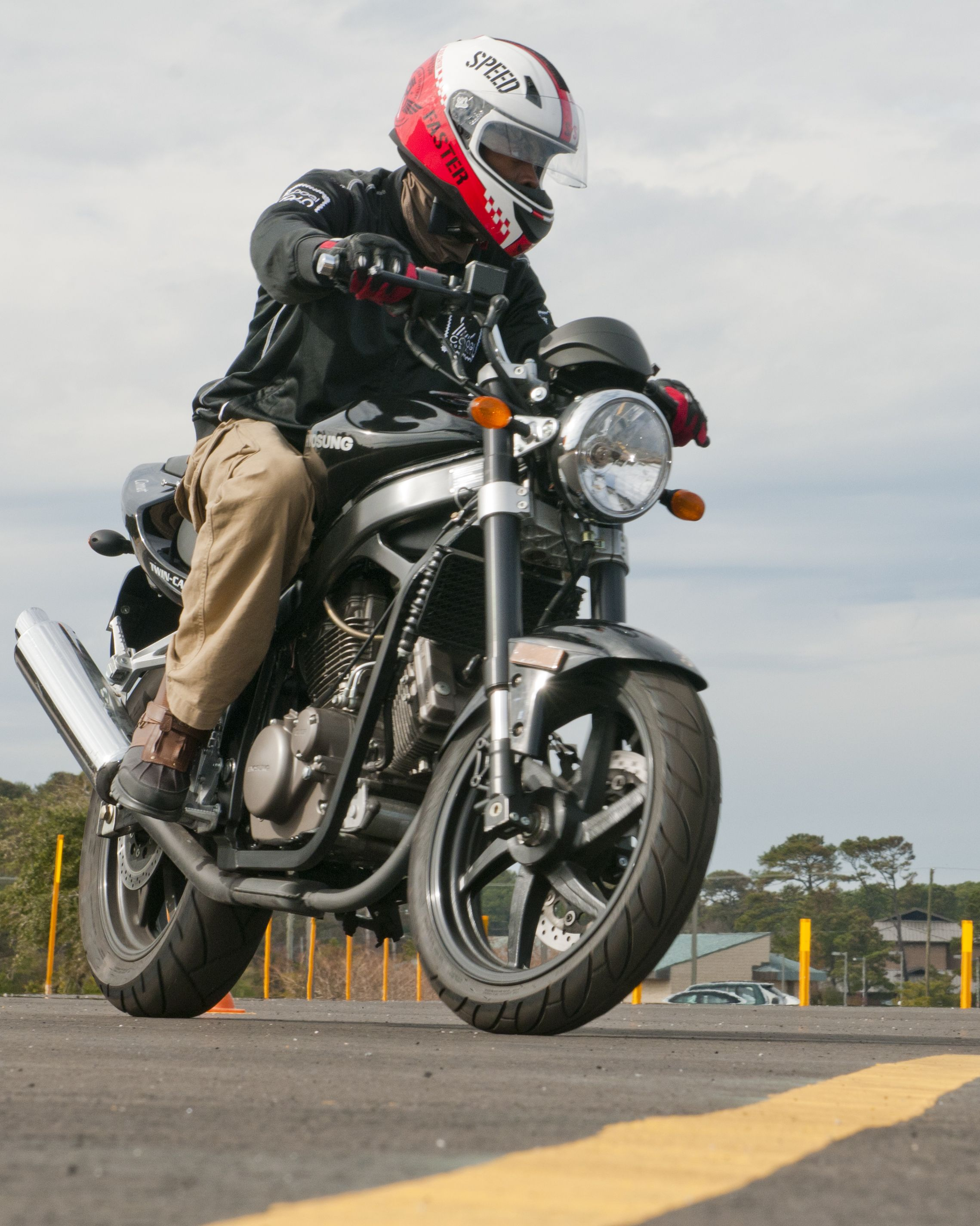 A great way for motorcyclists to be safe is to wear bright