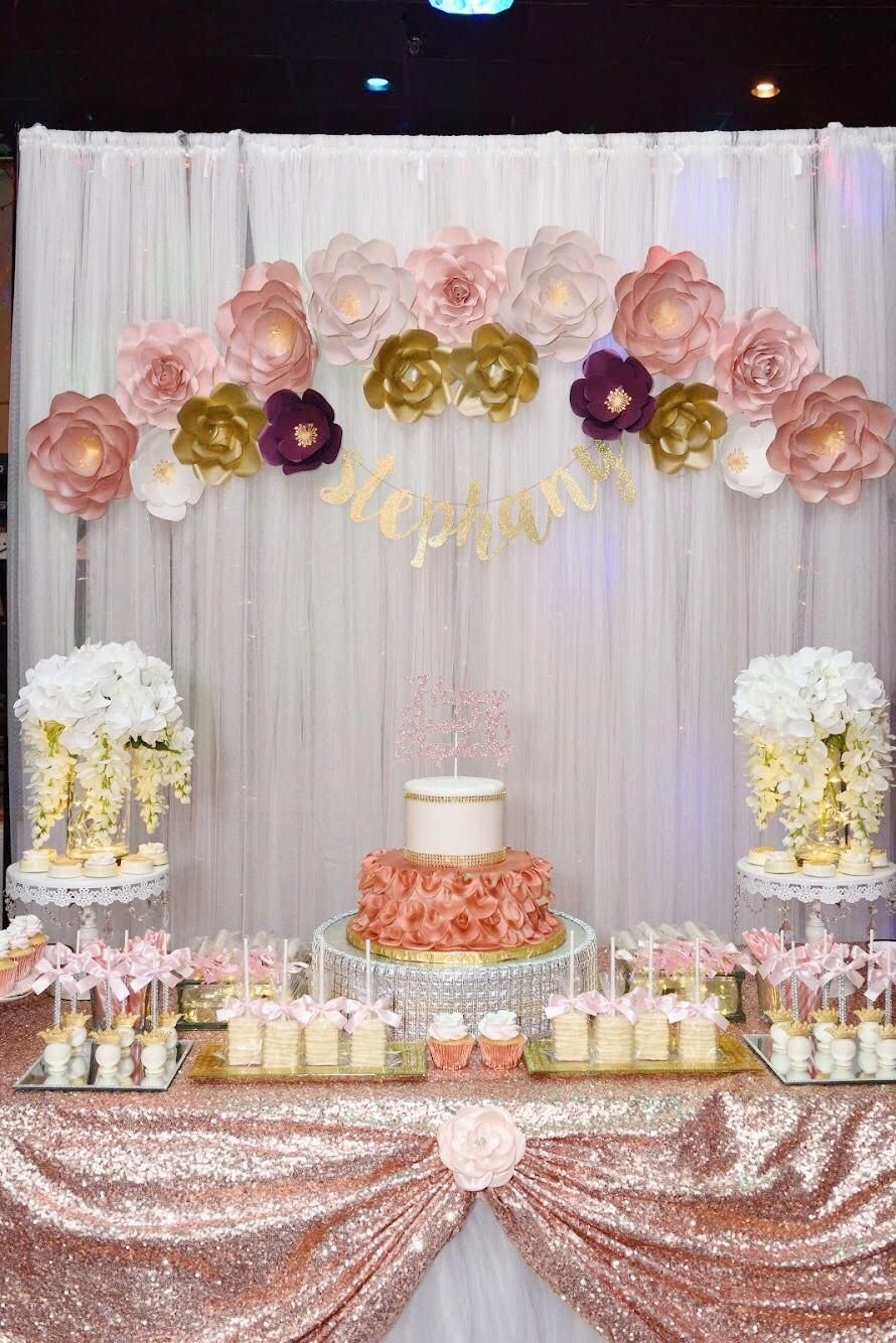 Esteemed Cured Quinceanera Party Diy Don T Delay Rose Gold Party Theme Rose Gold Party Rose Gold Theme