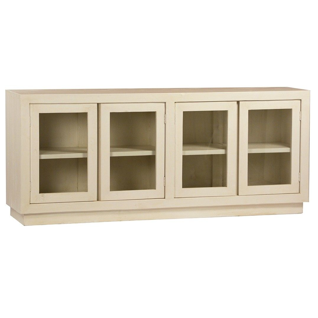 Minimalist Four Glass Door Sideboard Made In Solid Wood With White