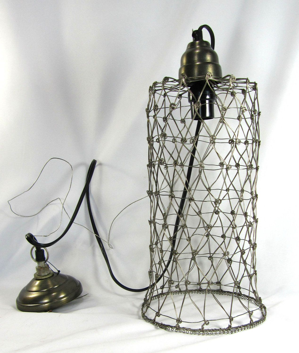 Hanging Pendant Light Lamp Custom Pewter Wire Mesh Cage Industrial ...