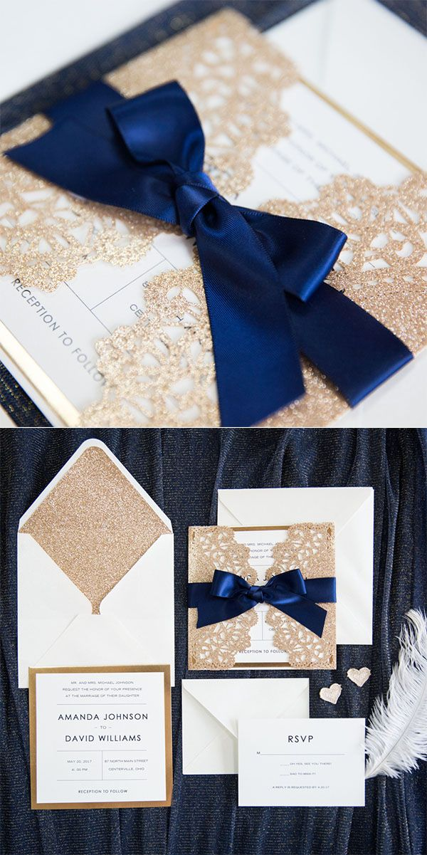 7 Classic Navy Blue Wedding Colors with Matching Wedding Invitations