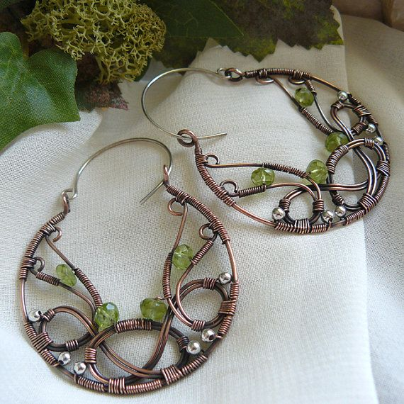 Copper and Peridot Celtic Knot Wirewrapped Hoop by kellscreations,