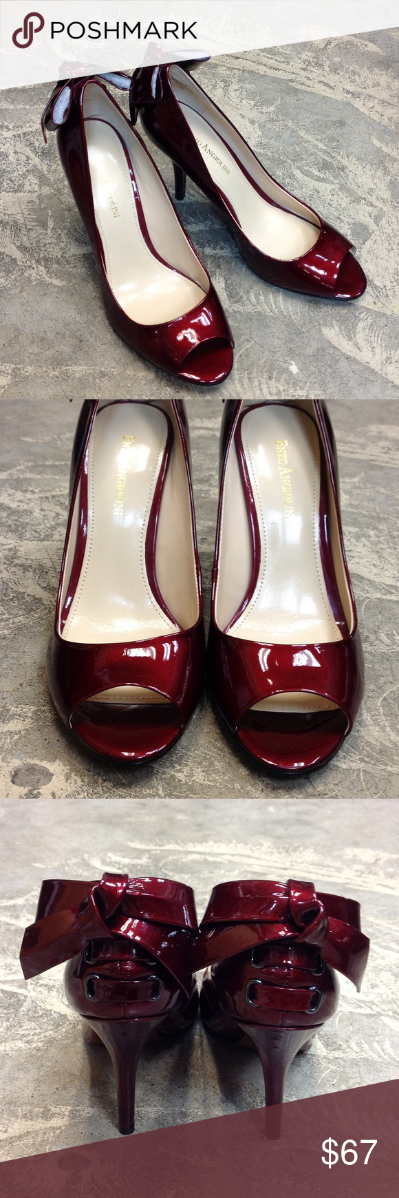 """ENZO ANGIOLINI """"Mistle"""" Pump O36 😍😍 These pumps are a GORGEOUS Christmas wine color! Patent leather with slight shimmer! US size 7.5, peep toe and aprox: 3.5inch heel! They have patent bows that """"lace"""" up the back of heels. ****NEW W/O TAGS! MINT CONDITION!! Still has foam shapers inside bows. Never been worn. Enzo Angiolini Shoes Heels"""