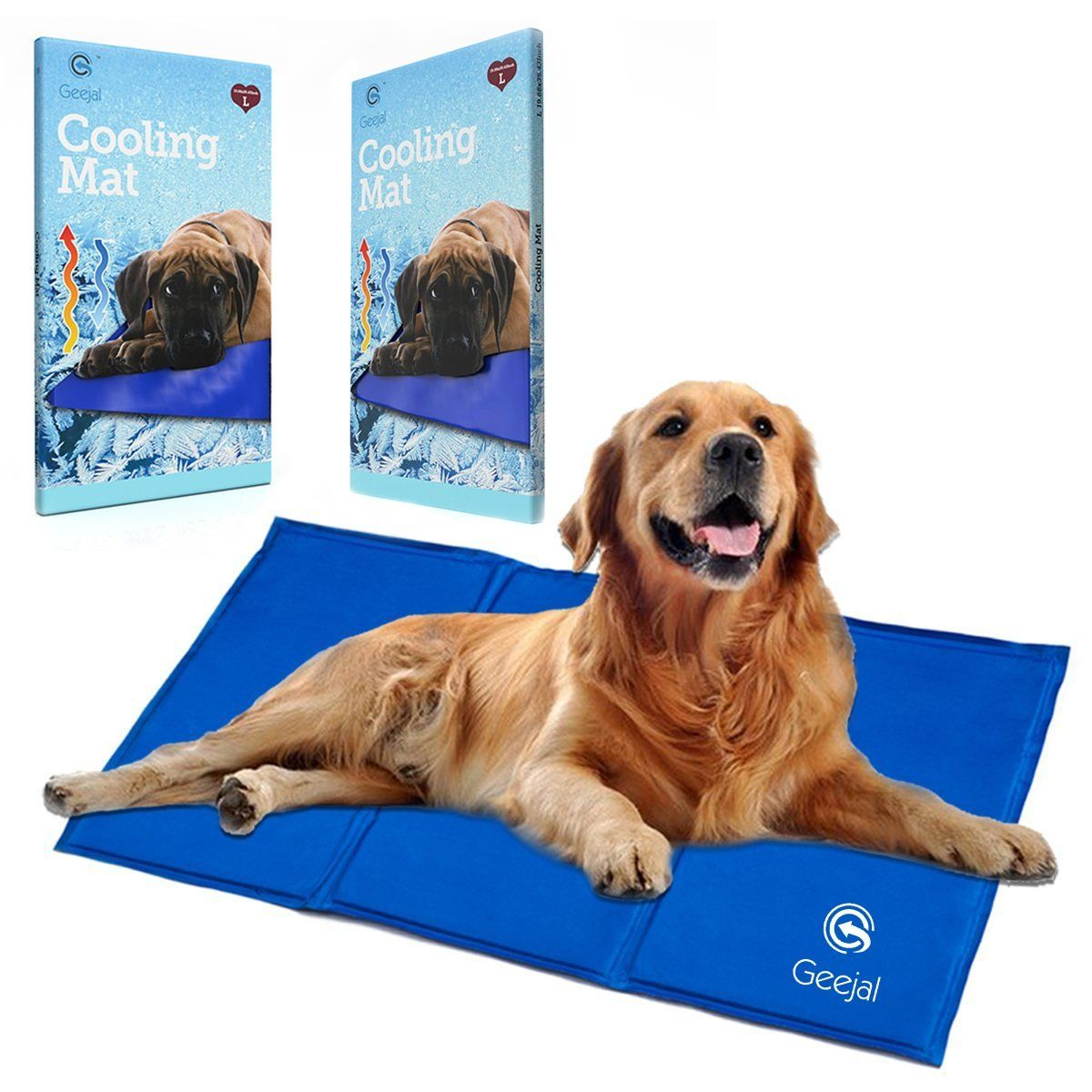 Geejal Pet Cooling Mat For Dogs With Selfpressure Activated Blue Gel Large Cooling Pad For Dogs And Cats Of All Siz Cool Dog Beds Dog Cooling Mat Diy Dog Stuff