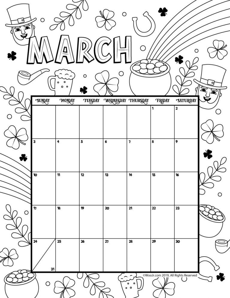 photograph relating to Preschool Calendar Printable identify March 2019 Coloring Calendar arts and crafts March