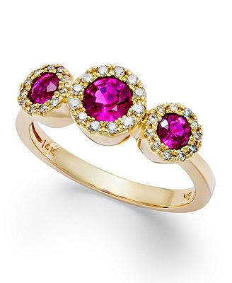 Triple the shine and glamour. Effy's beautiful three-stone ring features round-cut rubies (3/4 ct. t.w.) and diamonds (1/6 ct. t.w.) in 14k gold. | Photo may have been enlarged and/or enhanced. | This