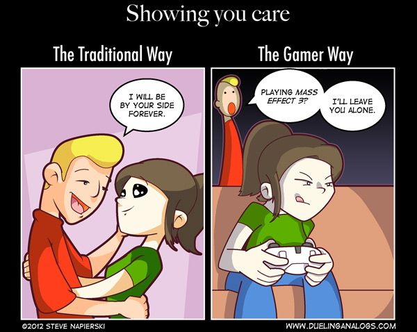 Showing You Care The Traditional Way Vs The Gamer Way Comic Gamer Humor Gamer Couple Funny Games