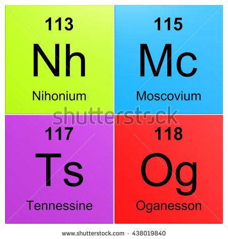 Nihonium 113, Moscovium 115, Tennessine 115 and Oganesso 118 - new