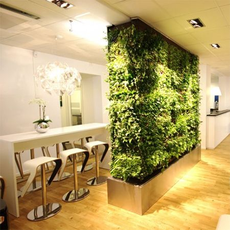 living room divider partition with vertical garden Wall