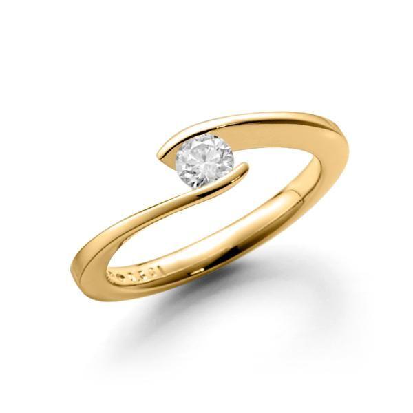 Verlobungsring Solitaire Gelbgold 585 Spannring Geschwungene