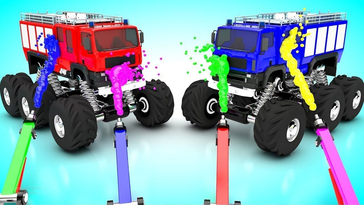 Jeep toys for kids  Colors for Children to Learn with Giant Toy Trucks D Painting