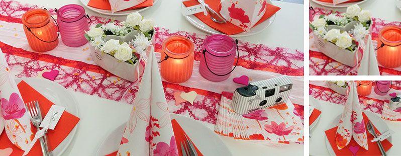 Tischdekoration ur hochzeit in orange fuchsia mit - Tischdeko brautpaar ...