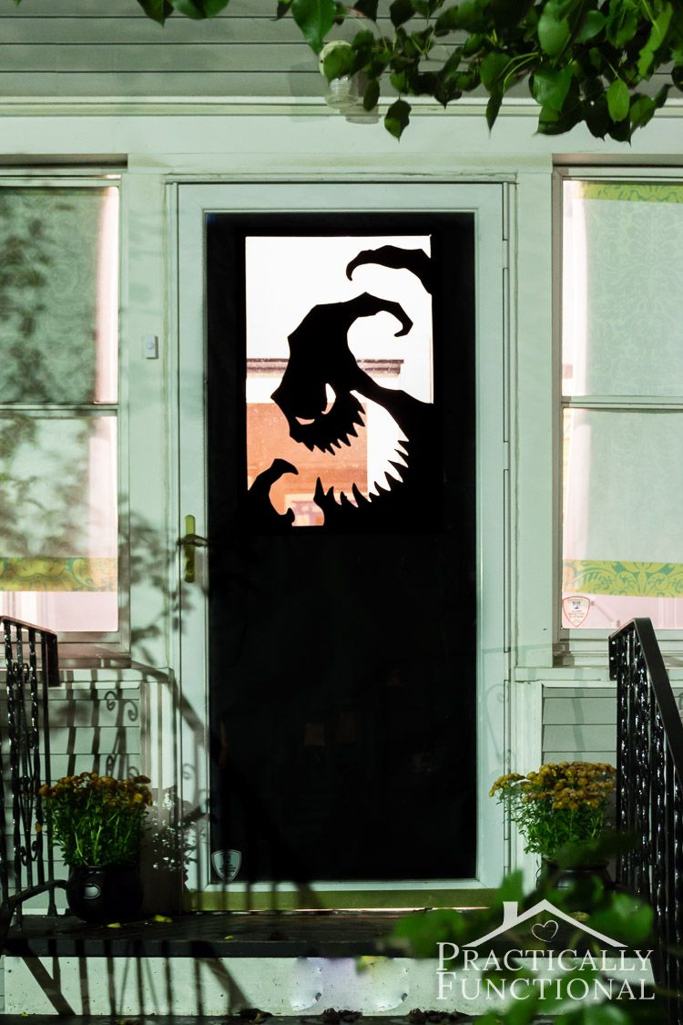 Make your own Halloween door decorations with vinyl! A spooky Oogie Boogie  silhouette is the