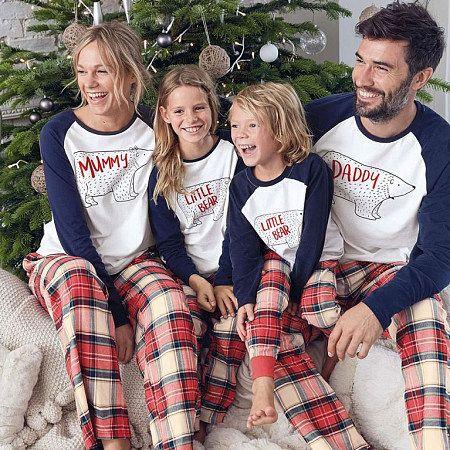 Christmas Bear Pattern Color Block Family Pajamas