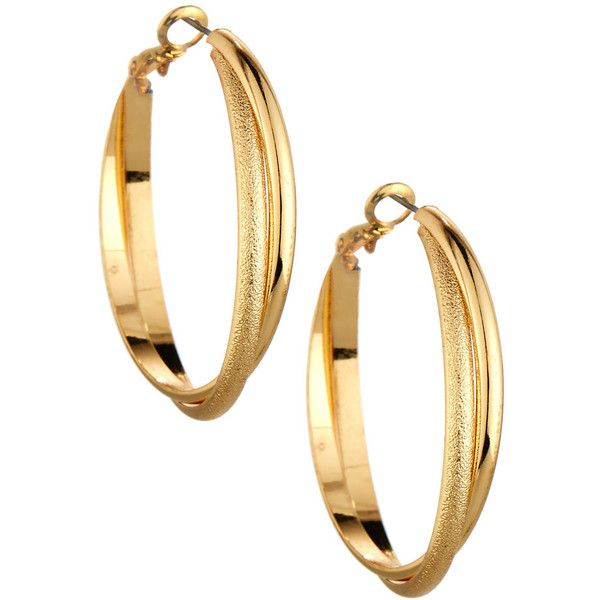 Lydell Nyc Textured Twisted Golden Hoop Earrings 13 Liked On Polyvore Featuring Jewelry