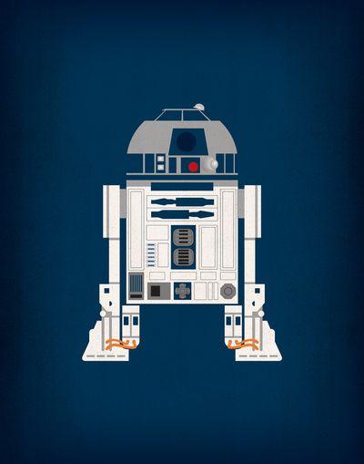 Star Wars R2D2 Minimalist Art Retro Style Vintage Poster