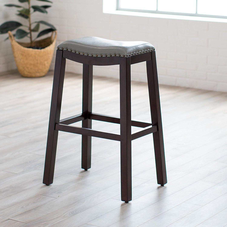 Domestic Home 32 Seat Height Leather Bar Stool Saddle Stool Dark