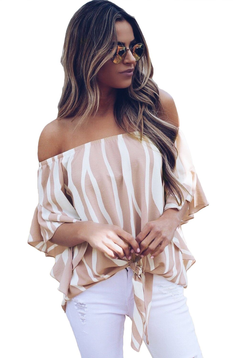 5ddcb7bdb21 Cheap Off The Shoulder Vertical Stripes Blouse in Pink only US  6.88
