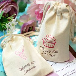 Personalized Natural Cotton Birthday Favor Bags
