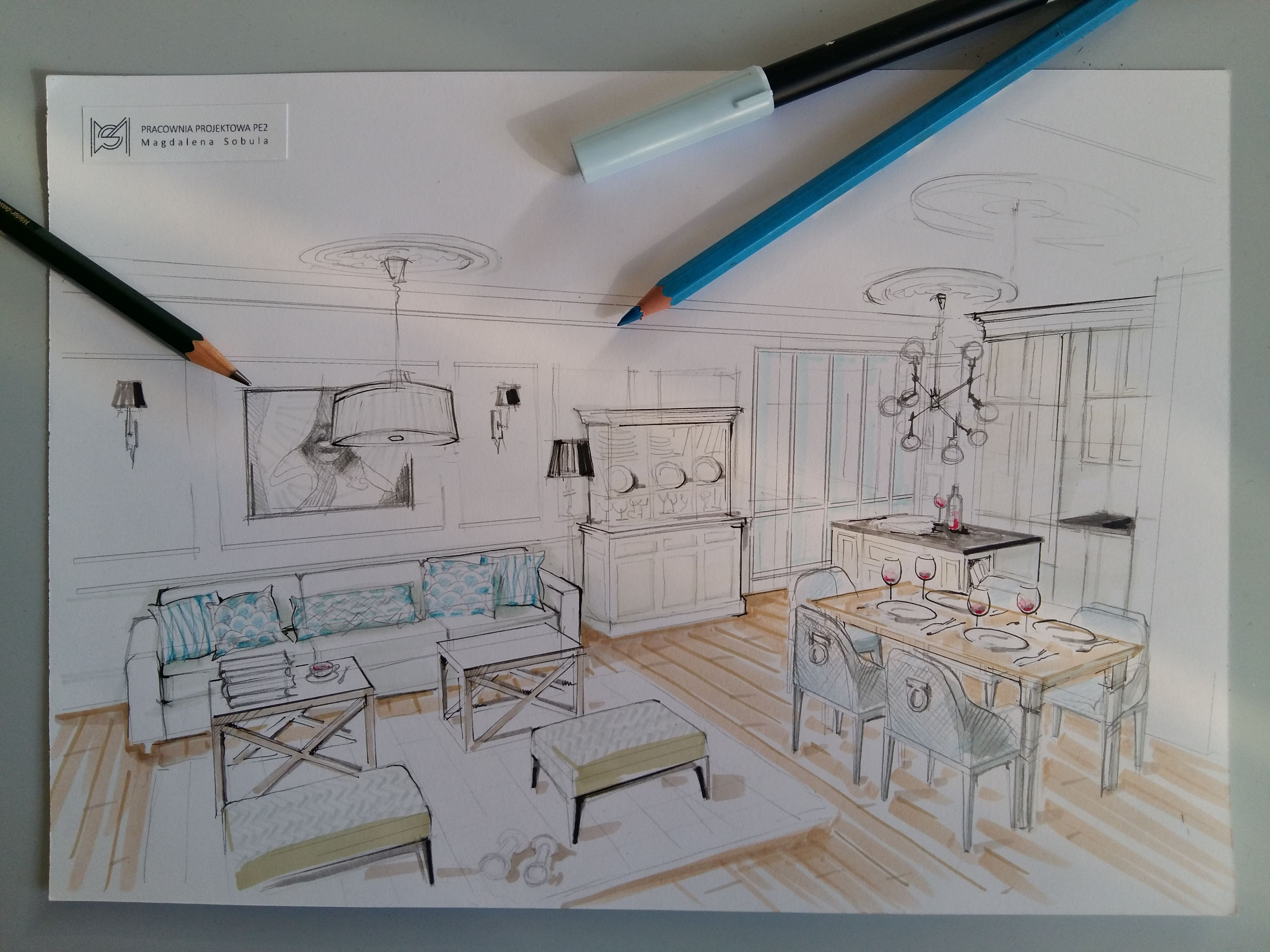 Dessin Decoration Interieur Living Room Designed By Magdalena Sobula Pracownia