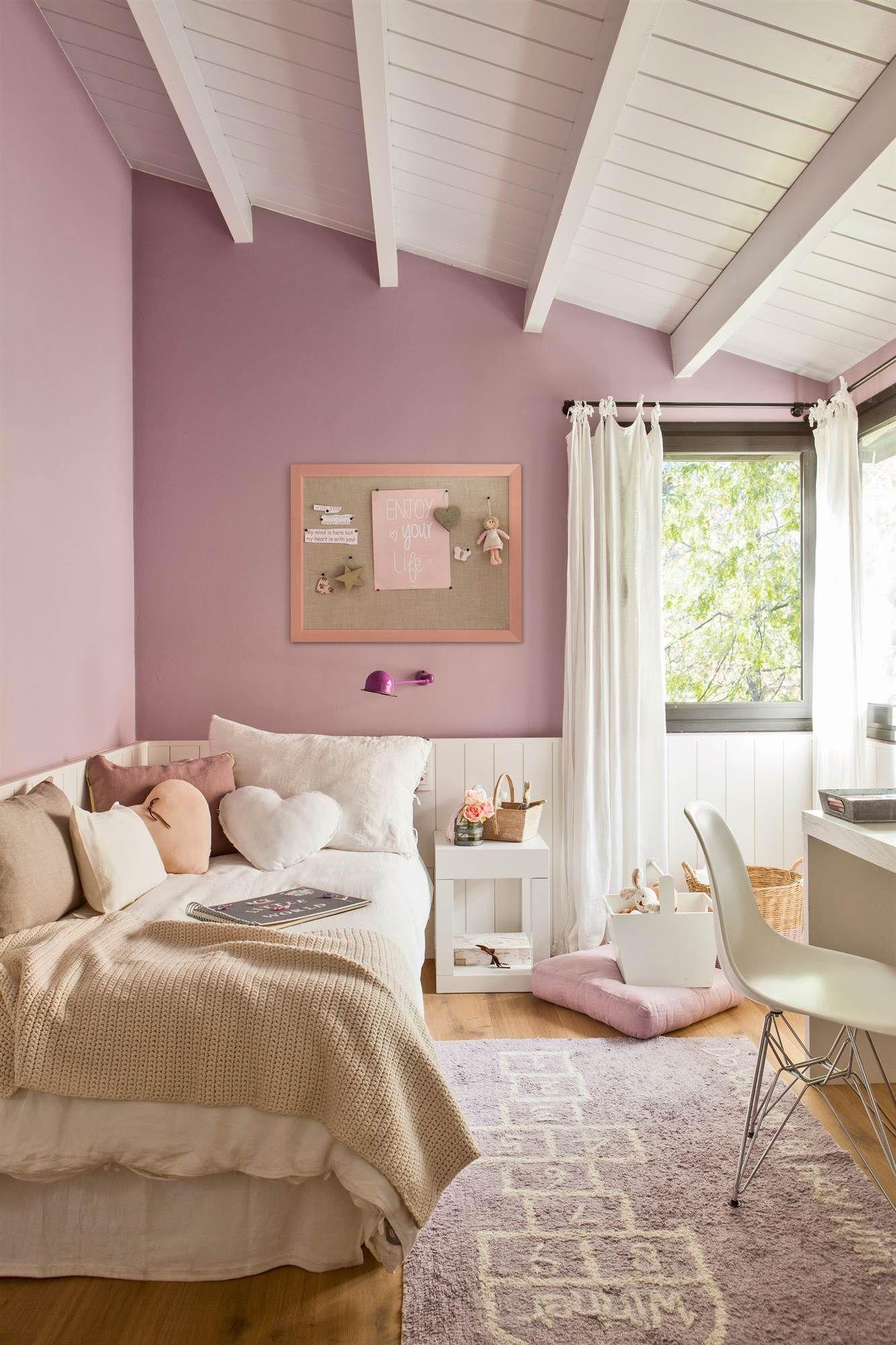 Dormitorio Infantil Con Pared Negra Y Topos Rosas In 2018 - Como-pintar-habitacion-infantil