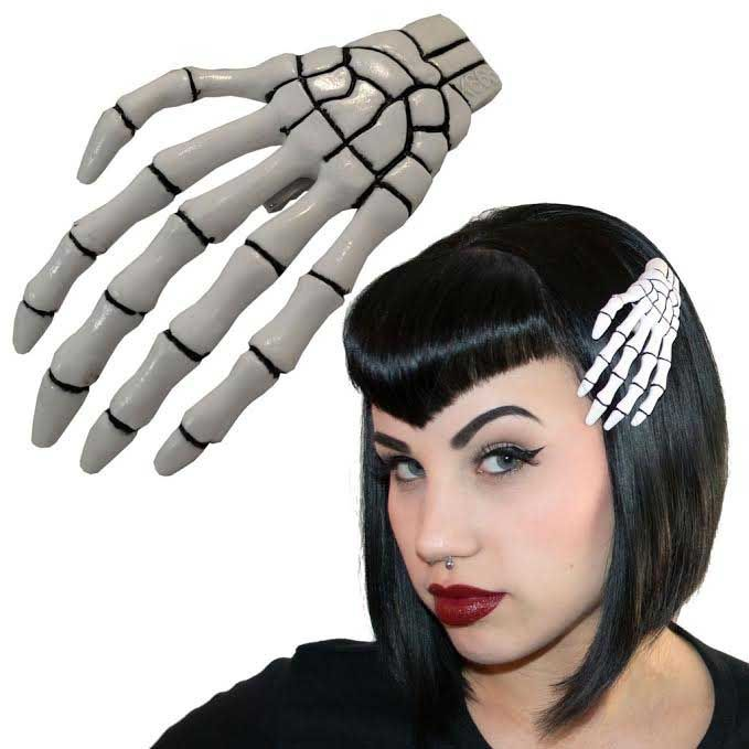 Skeleton Hands Hair Clips by Kreepsville 666 - 5 color choices
