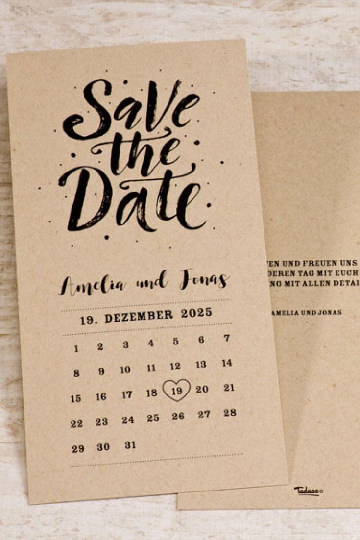 Photo of Save the Date Kalender Kraftpapier
