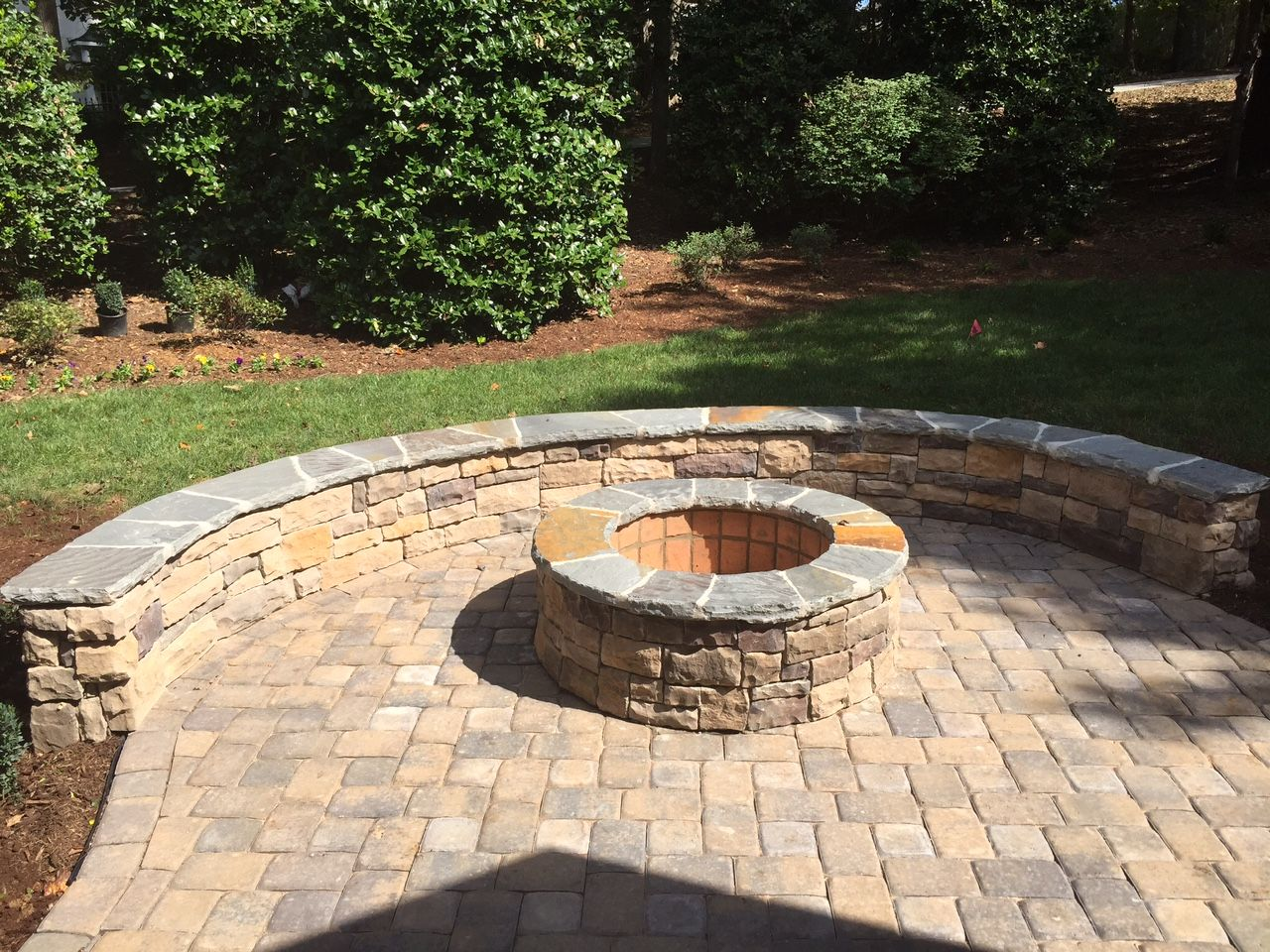 Durham Fire Pit on Belgard Paver Patio - Durham Fire Pit On Belgard Paver Patio Raleigh-Durham Outdoor