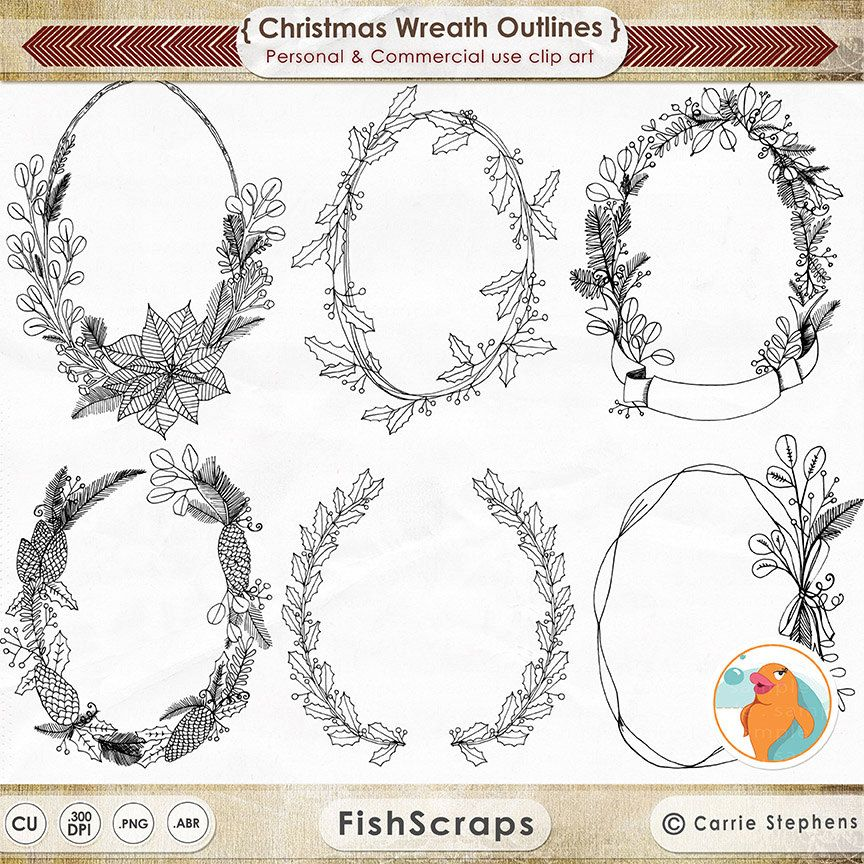Christmas Wreath Line Art, Hand Drawn Illustration, Holiday Wreath ...
