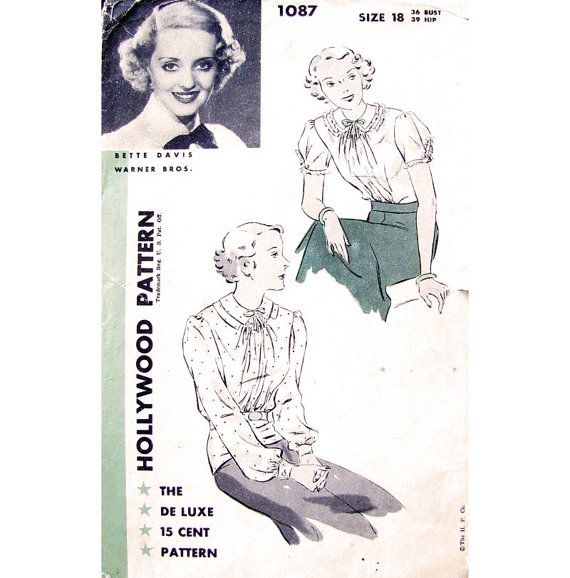 Reserved for Mary.............Vintage 1930s Blouse Pattern Bette ...