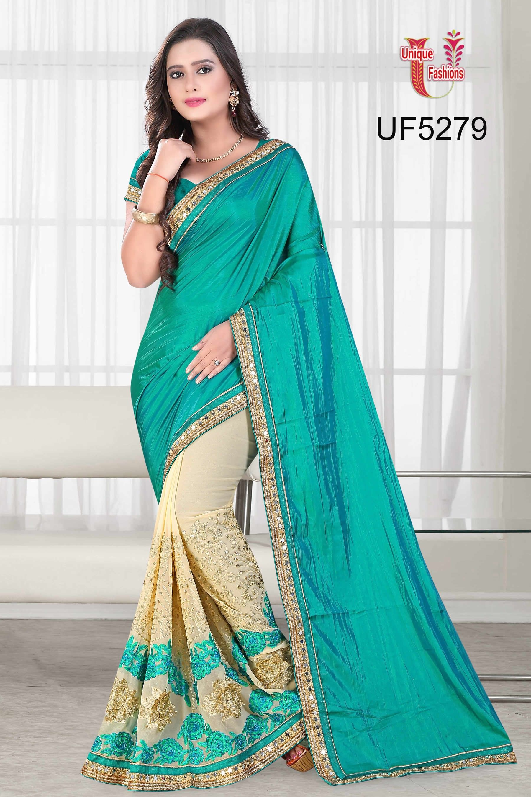 2127c8cef5 buy saree online Sea Green and Cream Colour Silk and Georgette Party Wear  Saree Buy Saree online UK - Buy Sarees online