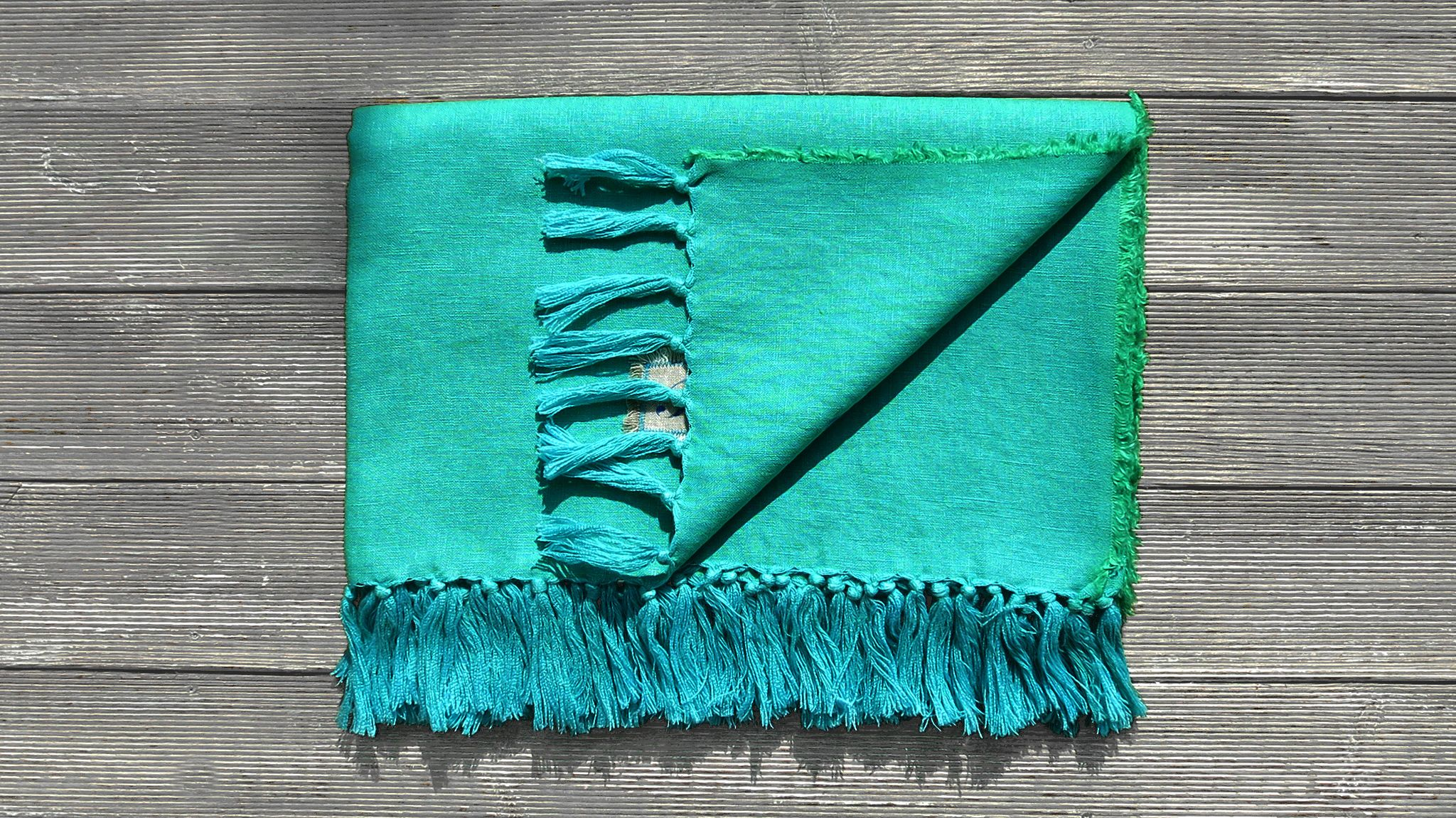 "TRIBEWOOD's BEACH BLANKET ""LINUM"" ocean-fresh turquoise blue"