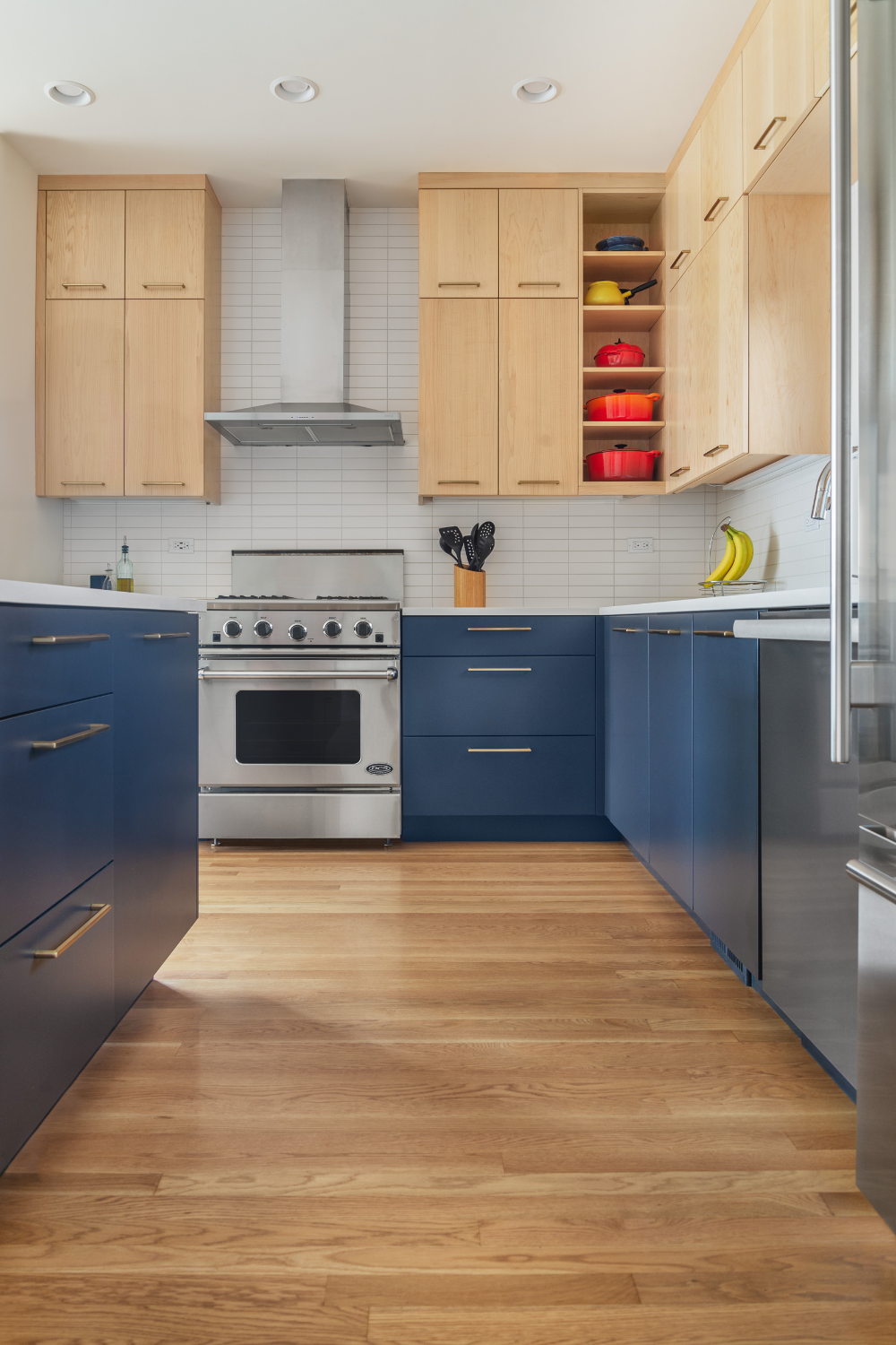 Color Blocked Kitchen Cabinets In 2020 Contemporary Kitchen Cabinets Contemporary Kitchen Kitchen Remodel