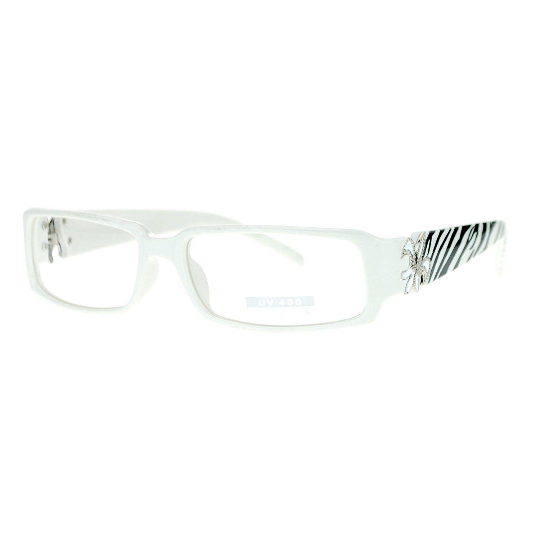 aa978480f9f9 Flor de Lis Womens Narrow Rectangular Clear Lens Eye Glasses - White Zibra  - C511ATAS3GT - Women s Sunglasses