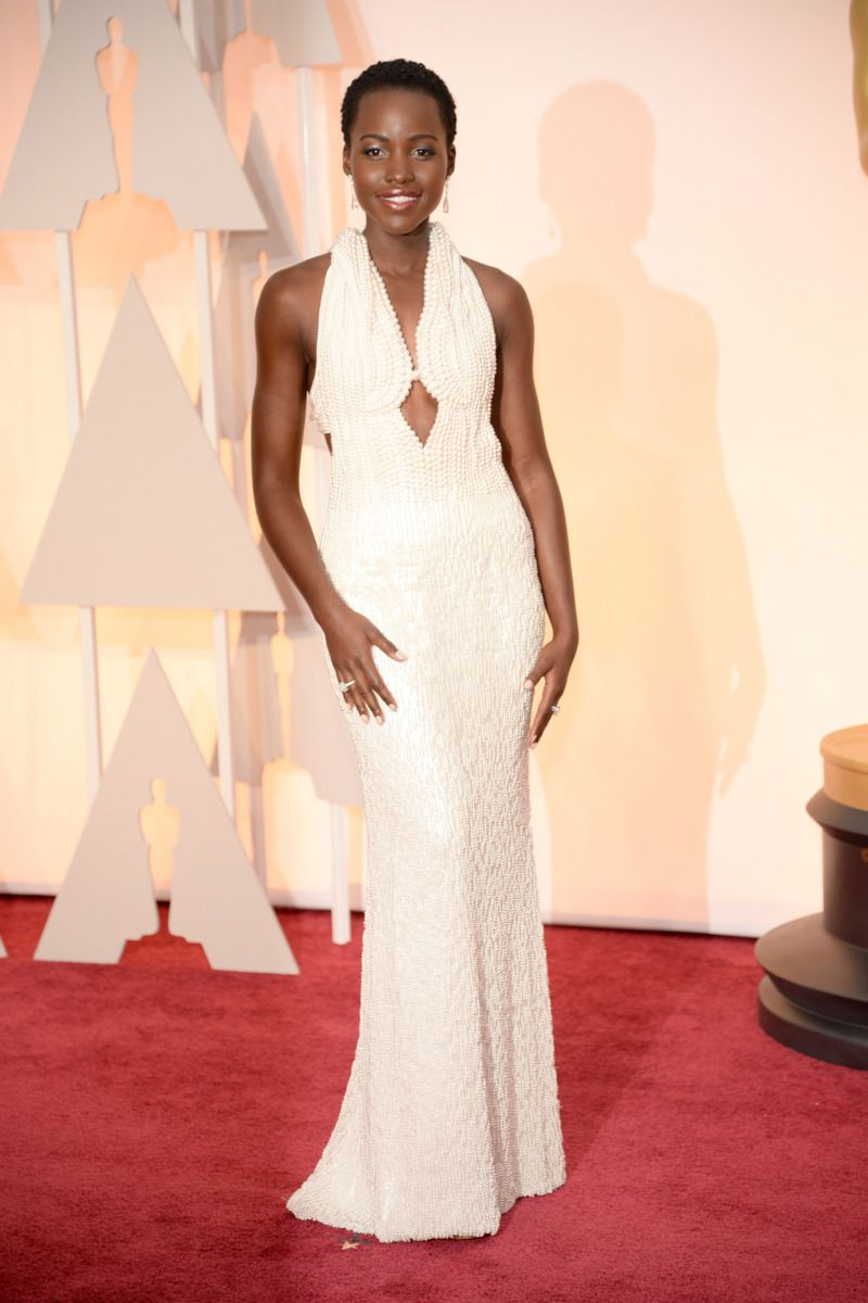 Oscars 2015, Lupita Nyongo in Calvin Klein.  This is where I wish Pinterest had subboards.