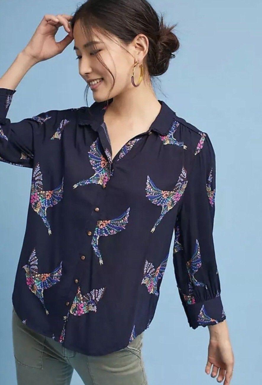NWT Anthropologie Blue Alden Floral Bird Button Down Blouse
