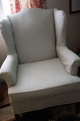gray chair slipcover ikea recliner chairs ticking stripe for wingback would love this on my wing the summer