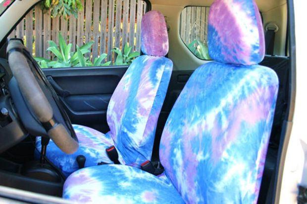 HOLIDAY SALE Car Seat Covers Purple Blue Tie Dye For Adult FREE Gift Bag Boho Chick Surf Pair Of Front Seats