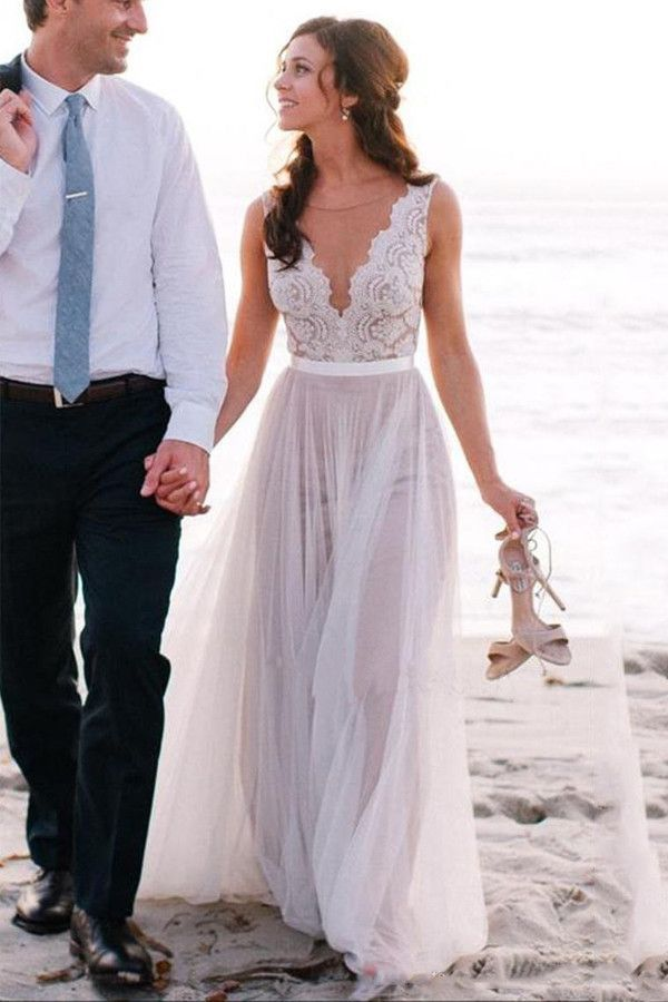 Elegant Scoop Neck Lace A Line Tulles Beach Wedding Dress Wd034