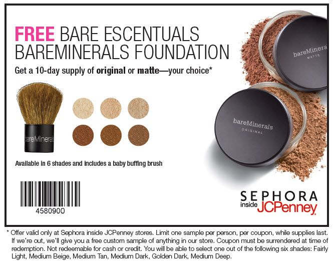 Free Makeup From Sephora In Jcp 20100210 Sephora Coupon Jpg 669 529 Mineral Makeup Foundation Bare Minerals Foundation Makeup Coupons