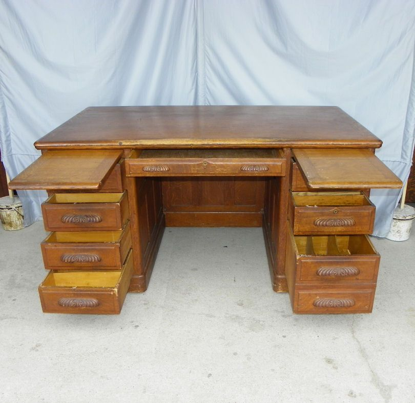 Antique Oak Paneled Executive Office Desk Stuff To Buy Pinterest