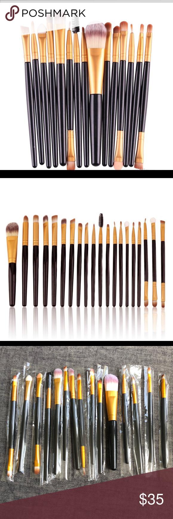 Photo of Premium 15-teiliges Schminkpinsel-Set 15-teiliges hochwertiges Pinsel-Set Schwar…