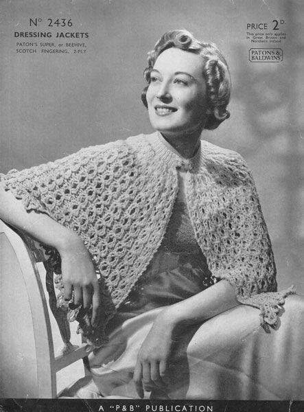 Vintage Ladies Bed Jacket Knitting Patterns Crochet Boleros