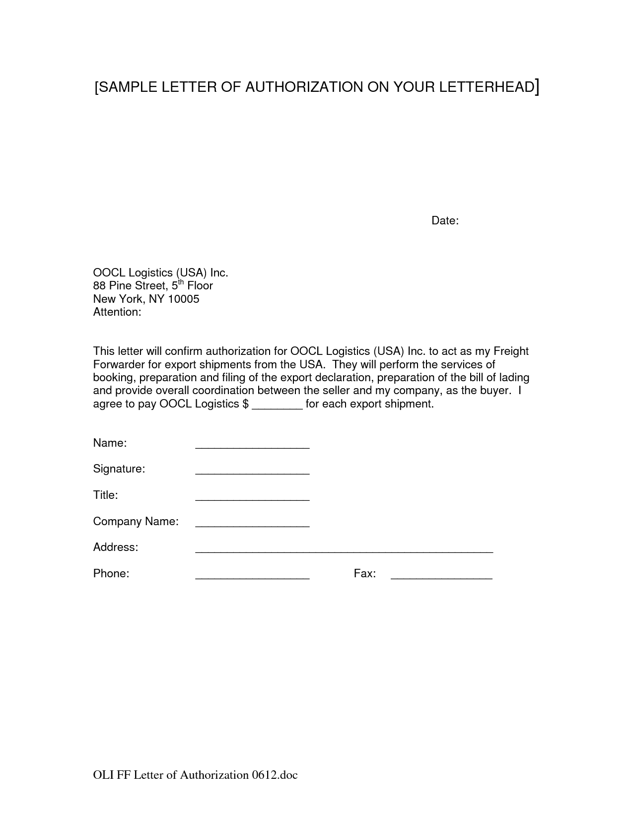 sample letter of authorization to release information