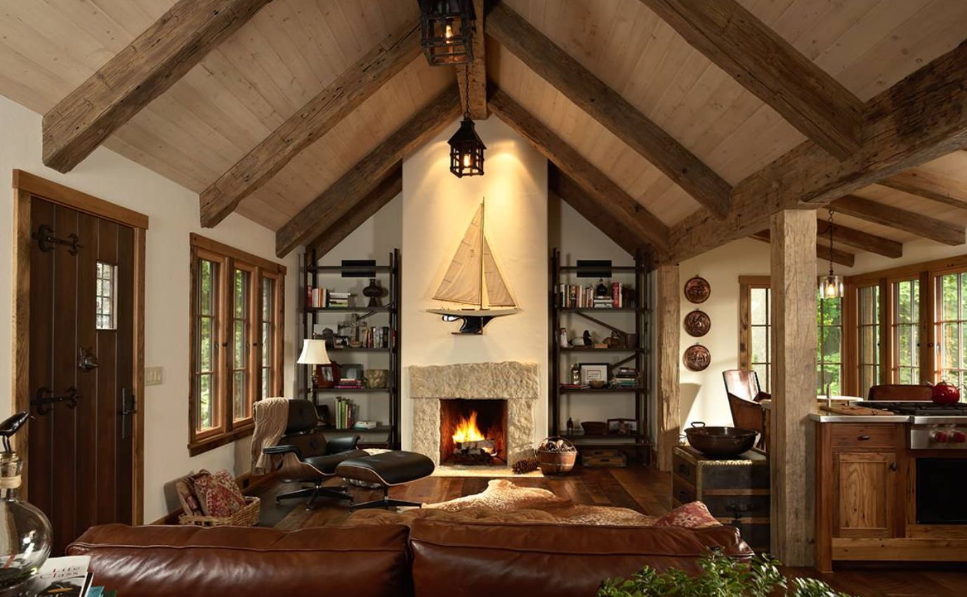 Cool Rustic Living Room With Cathedral Ceiling And Iconic E